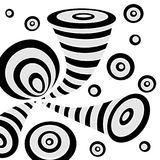 Achtergrond met cirkels van de krabbel de abstracte misvorming in zwarte op wit royalty-vrije illustratie