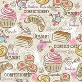 Achtergrond met cupcake, croissant, cake en bonbon royalty-vrije illustratie