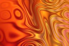 Achtergrond met curvy patroon in geel rood, Oran Stock Afbeeldingen