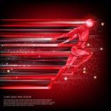 Achtergrond met cyborg die of met terug snelheid van licht en motieonduidelijk beeldspoor vliegen lopen Royalty-vrije Stock Foto