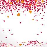Achtergrond met dalende harten in rood Stock Afbeelding