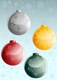 Achtergrond met de ballen van vier nieuw-Jaren royalty-vrije illustratie