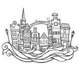 Achtergrond met de hand getrokken huizen van krabbelamsterdam Rebecca 36 illustratievector Stock Foto