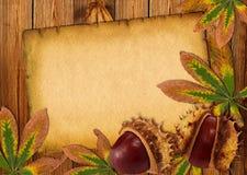 Achtergrond met de herfstkastanjes en bladeren Stock Afbeelding