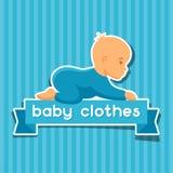 Achtergrond met de kleren van de stickerbaby voor pasgeborenen royalty-vrije illustratie