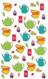 Achtergrond met de Kopkruik van de keuken vastgestelde thee jam Royalty-vrije Stock Afbeelding