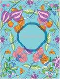 achtergrond met de lentebloemen op een turkooise achtergrond Royalty-vrije Stock Afbeelding