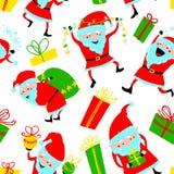 Achtergrond met de leuke dozen van Santa Claus en van de gift Kerstmisnaad Royalty-vrije Stock Afbeeldingen