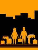 Achtergrond met de mens en vrouw met zak Stock Fotografie