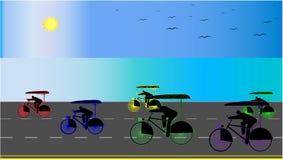 Achtergrond met de nabijgelegen kust van paraplufietsen - vectorillustratie royalty-vrije illustratie