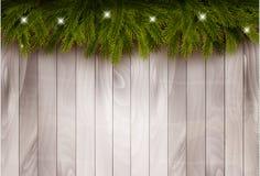 Achtergrond met de takken en de snuisterijen van de Kerstmisboom voor een houten muur vector illustratie
