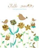 Achtergrond met decoratieve bloemen en vogels en met het van letters voorzien Hello de zomer Stock Foto's