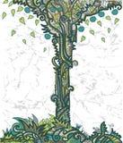 Achtergrond met decoratieve boom Stock Afbeelding