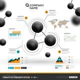 Achtergrond met deeltjes en infographic elementen stock illustratie