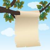 Achtergrond met document het hangen op een tak van eik. Royalty-vrije Stock Fotografie