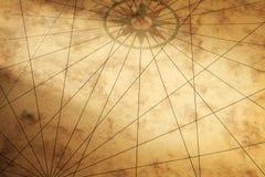 Achtergrond met document textuur en kompas Stock Foto