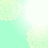 Achtergrond met een blauwe gradiënt en gebladerte in een halve cirkel in de hoek Stock Afbeelding