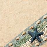 Achtergrond met een blauwe zeester Stock Foto