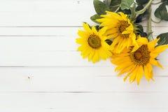 Achtergrond met een boeket van zonnebloemen op geschilderd wit woode royalty-vrije stock afbeeldingen
