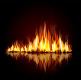 Achtergrond met een brandende vlam stock illustratie