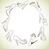 Achtergrond met een cirkel van schoenen Royalty-vrije Stock Fotografie