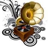 Achtergrond met een grammofoon Stock Afbeeldingen