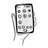 Achtergrond met een hand en een smartphone Stock Foto