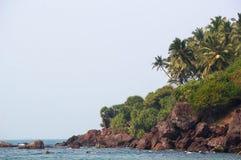 Achtergrond met een mening van het mooie strand met een rotsachtig strand en een palm in Goa Stock Afbeelding