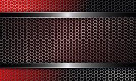 Achtergrond met een metaaltraliewerk en een kader van rode en zwarte schaduwen stock illustratie