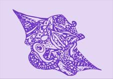 Achtergrond met een shelle in purple Stock Afbeeldingen
