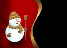 Achtergrond met een sneeuwman stock illustratie