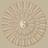Achtergrond met een symbool van yin-Yang, visuele decep Royalty-vrije Stock Afbeeldingen