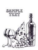 Achtergrond met een wijnfles Royalty-vrije Stock Afbeelding