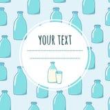 Achtergrond met flessen melk en ruimte voor uw tekst Royalty-vrije Stock Afbeelding