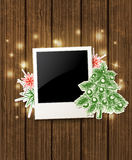 Achtergrond met foto en Kerstboom Royalty-vrije Stock Foto's