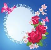 Achtergrond met frame, rozen en vlinder Royalty-vrije Stock Afbeeldingen