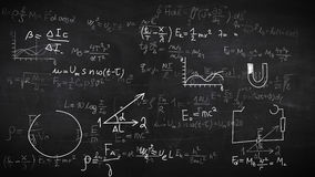 Achtergrond met fysieke formules Stock Foto