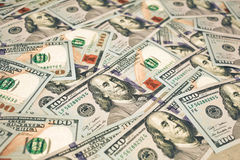 Achtergrond met geld Amerikaanse nieuwe dollar 100 Royalty-vrije Stock Foto's