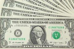 Achtergrond met geld de V.S. 1 dollarrekeningen Stock Afbeelding