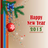 Achtergrond met Gelukkige Nieuwjaarteksten, Kerstboomtak en het ornament van de Kerstmisbal Stock Fotografie