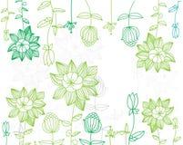 Achtergrond met geschilderde groene bloemen Stock Foto's