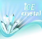 Achtergrond met glanzende kristallen van ijs en golf Stock Afbeeldingen