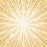 Achtergrond met glanzende ster met uiteenlopende bundel van stralen in gouden kleuren vector illustratie