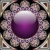 Achtergrond met glascirkel en purpere ornamenten met kostbaar Stock Afbeeldingen