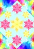 Achtergrond met gouachepatroon in hoeken en bloemen Stock Afbeeldingen