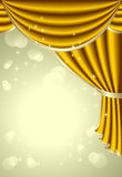 Achtergrond met gouden gordijn Royalty-vrije Stock Afbeeldingen