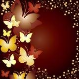 Achtergrond met gouden vlinders Stock Foto