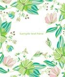 achtergrond met groen en roze bloemen Royalty-vrije Stock Afbeeldingen