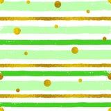 Achtergrond met groene en gouden stroken Royalty-vrije Stock Afbeelding