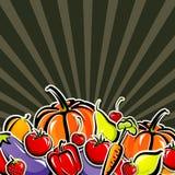 Achtergrond met groenten en fruit Royalty-vrije Stock Afbeelding